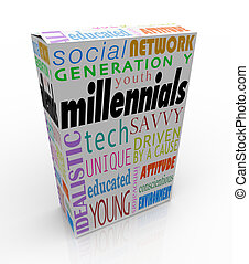 caja, producto, paquete, generación, mercadotecnia, juventud, millennials, y