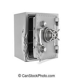 caja, puerta, interpretación, seguro, aislado, roto, fondo., blanco, abierto, su
