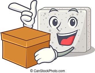 caja, queso, carácter, feta, pedazos