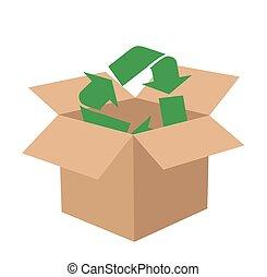 caja, reciclar, vector, señales