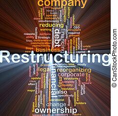 caja, reestructuración, palabra, nube, paquete
