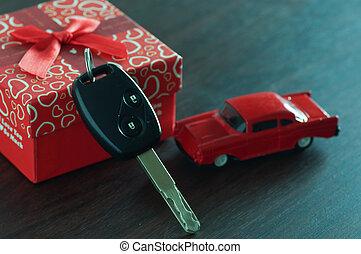 caja, regalo, coche, madera, llave, tabla