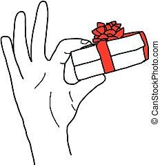 caja, regalo, garabato, aislado, mano, vector, tenencia, illustation, dibujado, blanco, arco, rojo