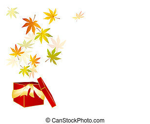 caja, regalo, hoja, -, venta, otoño, otoño