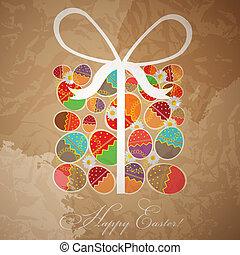 caja, regalo, huevos, -, plantilla, pascua, tarjeta