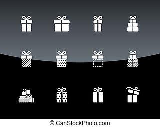 caja, regalo, iconos, fondo., negro, navidad