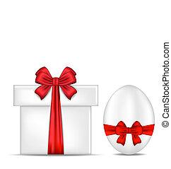 caja, regalo, pascua, arco, huevo, rojo
