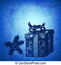 caja, regalo, winterberry, ilustración, mano, vector, ...