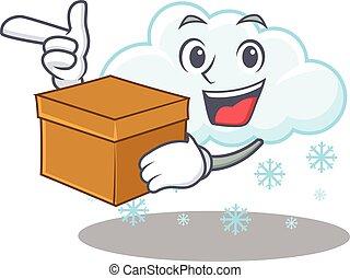 caja retrato, diseño, nube, tenencia, caricatura, nevoso, ...