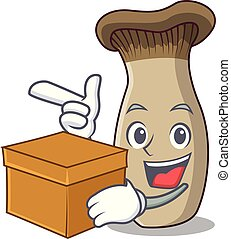 caja, rey, hongo, carácter, trompeta, caricatura