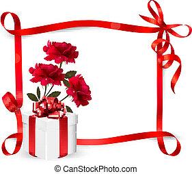 caja, ribbon., plano de fondo, regalo, tres, rosas, vector...