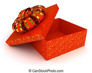 caja roja, encima, fondo blanco