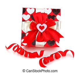 caja, rojo, romántico, regalo