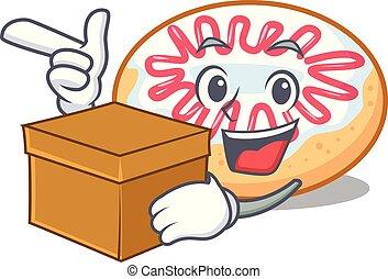 caja, rosquilla, carácter, jalea, caricatura