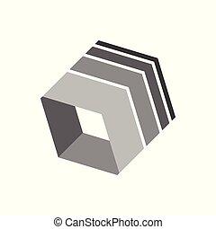 caja, símbolo, 3 dimensional, forma, resumen