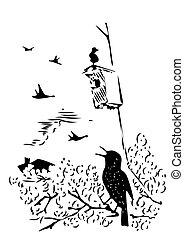 caja, sentado, mano, anidar, rama, debajo, dibujado, pájaro