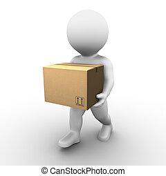 caja, serie, cartón, -, bobby