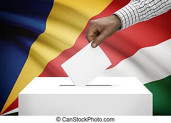 caja, seychelles, nacional, -, bandera, plano de fondo,...