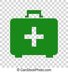 caja, signo., médico, oscuridad, fondo., verde, ayuda, ...