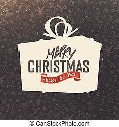 caja, silueta, regalo, mano, fondo., diseño, retro, alegre, dibujado, tarjeta de navidad