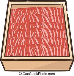 caja, sukiyaki, wagyu, prima, cortar, carne de vaca, japonés