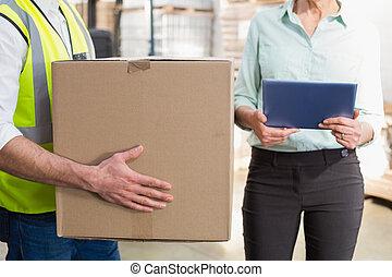 caja, tableta, trabajador, pc, director, proceso de llevar, tenencia