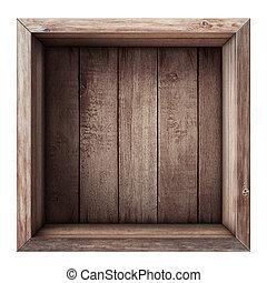 caja, tapa de madera, cajón, aislado, blanco, o, vista