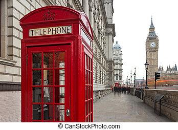 caja, tarde, city., cabinas, fragmento, grande, símbolo, -, teléfono, tradicional, teléfono, londres, plano de fondo, ben, público, rojo