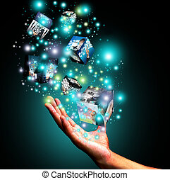 caja, tenencia, virtual, mano