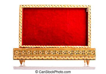 caja, terciopelo, abierto, rojo