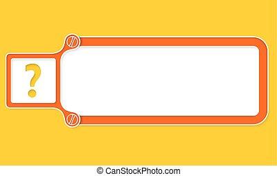 caja, texto, marco, signo de interrogación, blanco, su, rojo