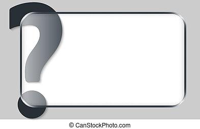 caja, texto, signo de interrogación, vector, blanco,...