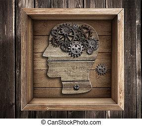 caja, trabajo, pensamiento, concept., cerebro, exterior,...