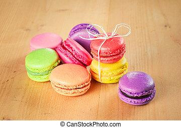 caja, tradicional, francés, colorido, macarons