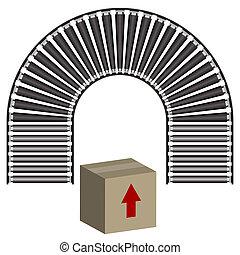 caja, transportador, icono, cinturón