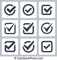 caja, vector, conjunto, cheque, iconos