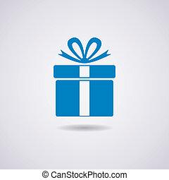caja, vector, regalo, icono
