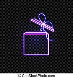 caja, vector, regalo, neón, aislado, fondo oscuro, ultravioleta, illustrtaion., transparente, brillar