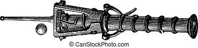 caja, vendimia, canon, grabado
