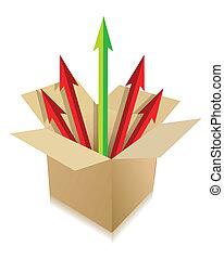 caja, venida, flechas, afuera