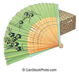 caja, ventilador papel, chino