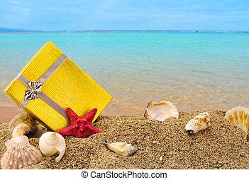 caja, verano, oro, regalo, arena, plano de fondo, mar