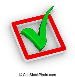 caja, verde, marca de verificación