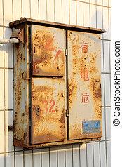 caja, viejo, eléctrico, metro