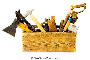 caja, viejo, trabajando, (saw, cincel, fondo., hacha, blanco...