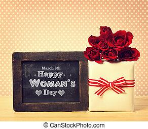 caja, womans, rosas, mensaje, día, presente, feliz