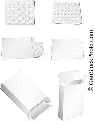 caja, y, píldoras