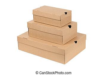 Cajas, blanco, aislado, Plano de fondo, Pila
