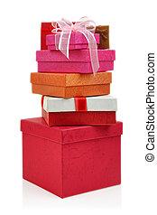Cajas, blanco, Plano de fondo, regalo, Pila