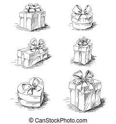 cajas, bosquejo, regalo